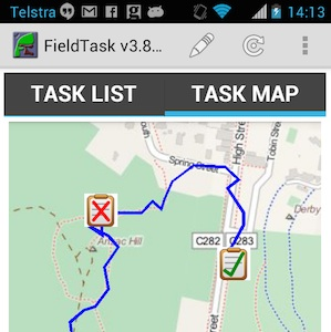 Map on Phone with user's GPS trail and survey locations